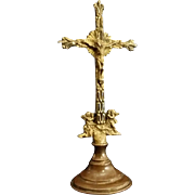 Brass Standing Crucifix with Angels