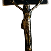 Antique Brass with Wood Inlay Pectoral Crucifix