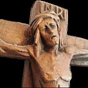 Striking Hand-Carved Wood Crucifix