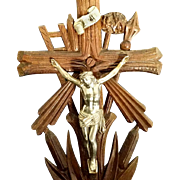 Antique German Standing Crucifix with Tools of the Passion