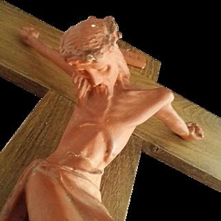 Large Mid-Century Crucifix with Ceramic Corpus