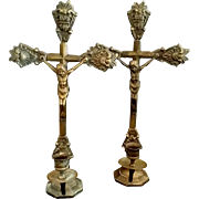Pair of Crucifix Candle Holders