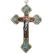 Wood Inlay Crucifix with Stations of the Cross