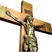 Antique Bavarian Crucifix with Latin