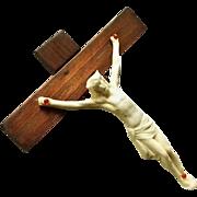 Wood and Ceramic Crucifix with Memento Mori