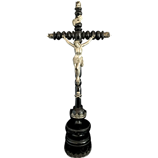 Antique French Spindle Crucifix, 18""