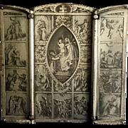 """Rosary Triptych Devotional Signed """"B. Wicker"""""""