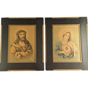 Matching Pair of Jesus and Mary Prints