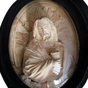 Large 19th century Framed Image of Christ