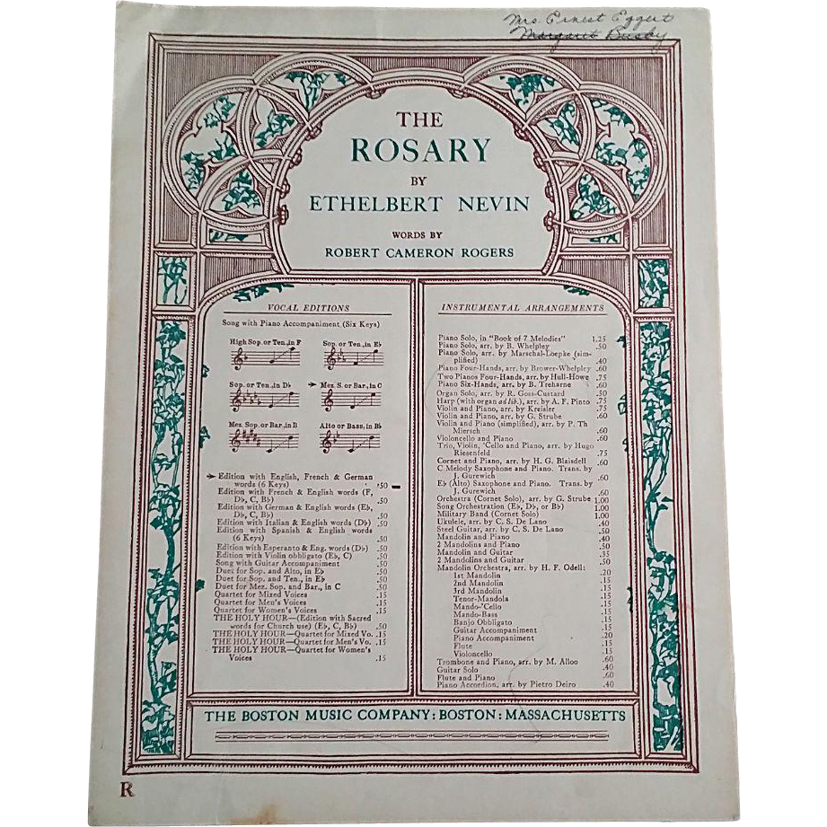 Sheet Music For The Rosary From Vintagecatholic On Ruby Lane