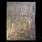 Nativity Scene Plaque signed E. Manfrini