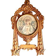 Art Nouveau Blessed Virgin Mary Framed Image