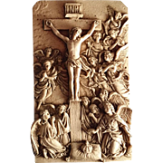 Crucifixion Scene with Angels Wall Plaque