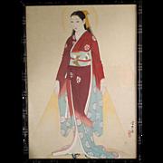 Taisho Era Japanese Madonna on Silk