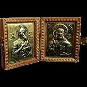 Greek Christ and Madonna Icon Prayer Case