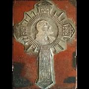 Unique Printer's Block with Image of Christ
