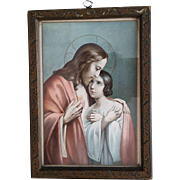 Framed Sacred Heart of Jesus with Child Print