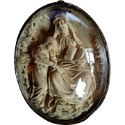 19th Century French Hand-Carved Image of Saint Anne and Mary