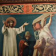 "Antique Second Station of the Cross: ""Jesus is Made to Bear His Cross"""