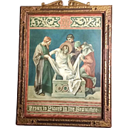 "Antique Fourteenth Station of the Cross: ""Jesus is Placed in the Sepulchre"""