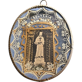 Reverse Painted Souvenir of Our Lady of Pont-Main