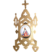 Antique Our Lady of Hal Porcelain and Brass Retablo