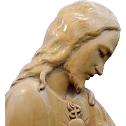 Wood Sacred Heart of Jesus Art - Red Tag Sale Item