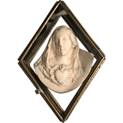 Immaculate Heart Carving in Glass Case