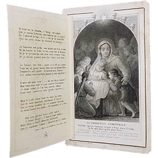 """Antique French """"Chants de Noel"""" Holy Card"""