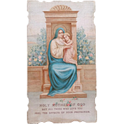 1915 Holy Mother of God Prayer Card, Gift from a Nun