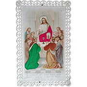 Sacred Banquet Holy Card with Satin and Lace