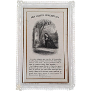 """""""The Tears of Christians"""" French Mourning Prayer Card, 1906"""