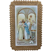 Gilded French Mystery of the Rosary Holy Card
