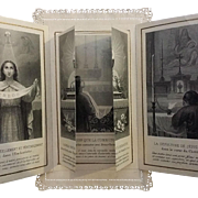 """Victorian French """"The Memorial of the Wonders of the Lord"""" Holy Card with Secret Image of Christ"""