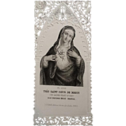 Lace Immaculate Heart of Mary Holy Card in French, German, and English