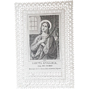 Saint Apollonia Virgin Martyr Holy Card