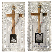 Pair of Lace Stations of the Cross Holy Cards