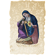 Queen of Martyrs Lace Holy Card