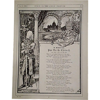 1903 Pope Leo XIII Memorial Poem & Illustration, Punch Magazine
