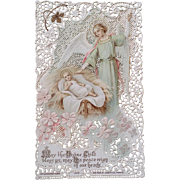 """""""May the Divine Child Bless Us"""" Lace Holy Card"""