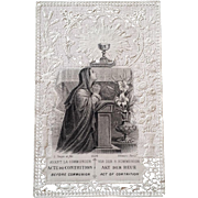 """Antique """"Act of Contrition"""" Lace Holy Card"""