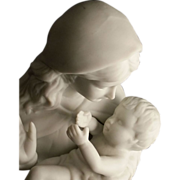 Fine Porcelain Bisque Madonna and Child Statue