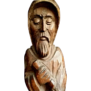 Hand-Carved Wooden Monk Statue from Spain
