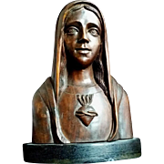 Large Wooden Immaculate Heart of Mary Statue
