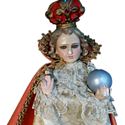 Italian Chalkware Infant of Prague Statue - Red Tag Sale Item