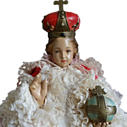 "1950 Chalkware 18"" Infant of Prague statue"