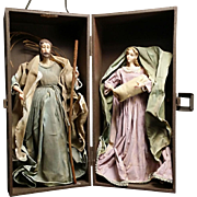 Holy Family Fabric Mache Figures in a Display Case