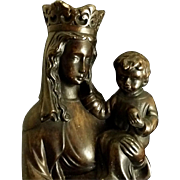 Antique Flemish Madonna & Child Statue