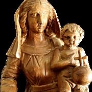 Magnificent Antique Madonna & Child Statue