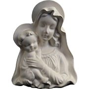 Vintage Madonna & Child Statue with Candleholders